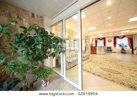 Entrance door to coridor with reception area in holiday home