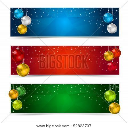 Horizontal Polygon Christmas Banners