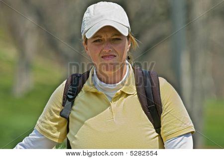 Disgusted Female Collegiate Golfer