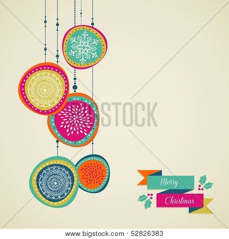 Merry Christmas Hand Drawn Circle Baubles Vector File.