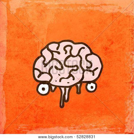 Brain. Cute Hand Drawn Vector illustration, Vintage Paper Texture Background