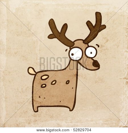 Cartoon Deer. Cute Hand Drawn Vector illustration, Vintage Paper Texture Background