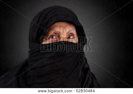 Senior Muslim Woman With Black Hijab