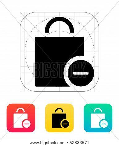 Handbag remove goods icon.
