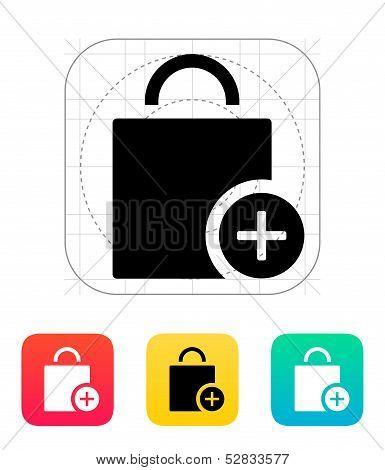 Handbag add goods icon.