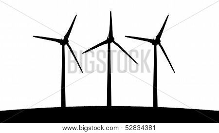 Three Aeolian Windmills Silhouettes