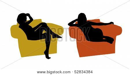 Young Beautiful Woman Seated In The Armchair Silhouettes Set 1