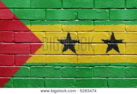 Flag Of São Tomé And Príncipe On Brick Wall