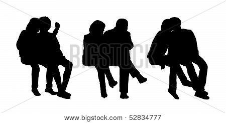 Couples Seated Outdoor Silhouettes Set 1