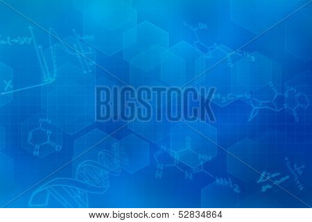 Blue futuristic background with chemical structural formulas