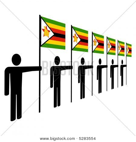 Men Holding Zimbabwean Flags
