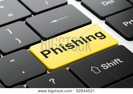 Security concept: Phishing on computer keyboard background