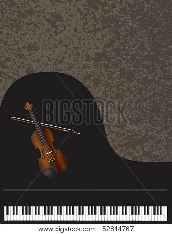 Grand Piano And Violin With Background