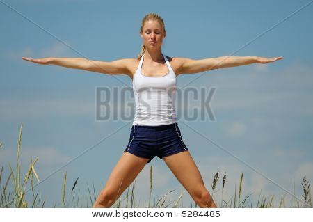 Beautiful Young Woman Training