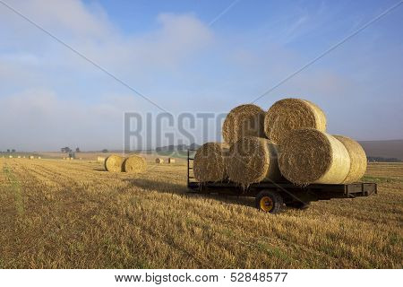 Farm Trailer With Bales