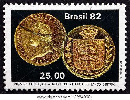 Postage Stamp Brazil 1982 Emperor Pedro's Coronation Coin