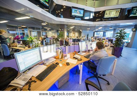 MOSCOW - MAR 5: Office buildings news agency RIA Novosti with many screens with news on March 5, 2013 in Moscow, Russia.