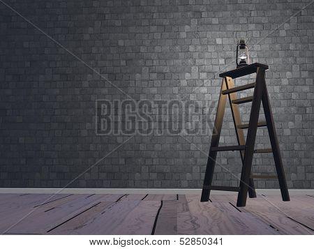 Lantern on ladder - 3D render