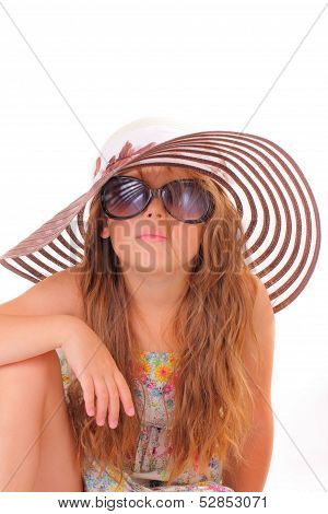 Little Girl In A Hat And With Sunglasses