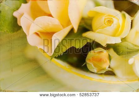 Artistic Vintage Yellow Roses