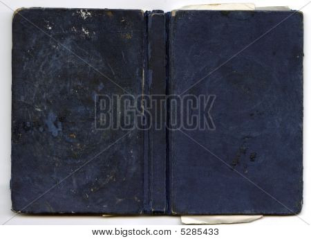 Dark Blue Leather Hardback Book Cover With Spine Blank For Text Design