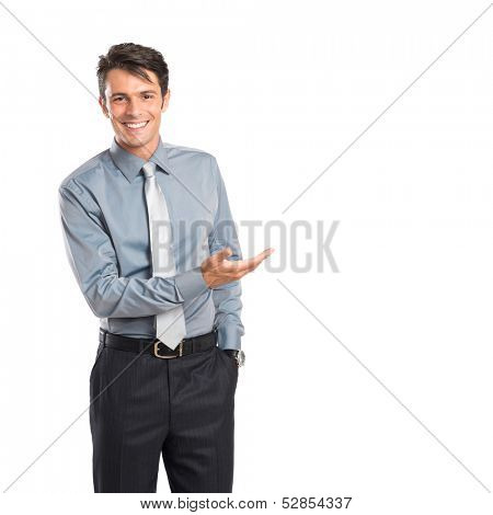 Happy Young Businessman Showing Isolated On White Background