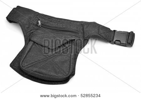 a denim hip bag with different pockets on a white background