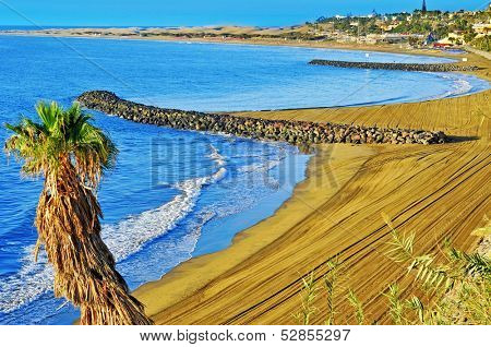 a view of Playa del Ingles beach in Maspalomas, Gran Canaria, Canary Islands, Spain