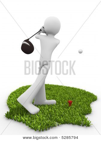Tee Stroke Starting Golf Match