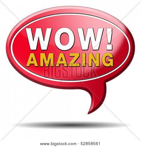 mind blowing amazing and awesome wow factor icon.