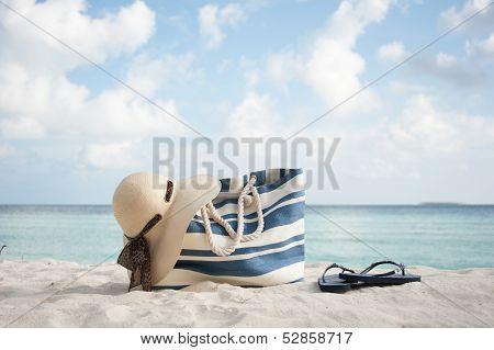 Beach Bag , Hat And Flip Flops
