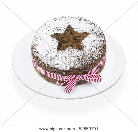 Christmas Fruit Cake On A White Background