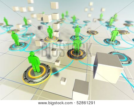 People connected in a virtual network. Digital illustration.