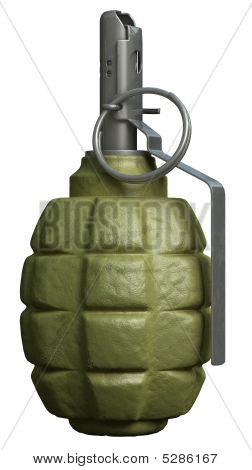 Fragmentation Hand Grenade Isolated Over A White Background