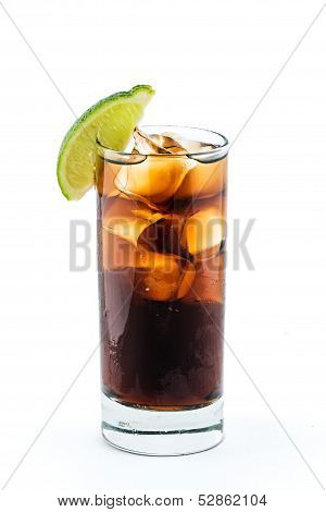 Cuba Libre Cocktail Isolation On White Background