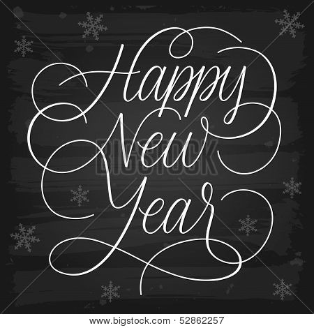 Happy New Year Greetings Chalkboard