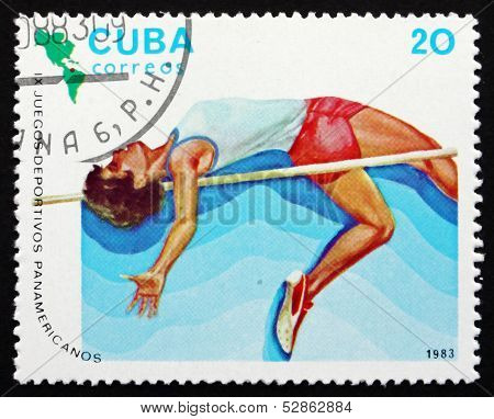 Postage Stamp Cuba 1983 High Jump, Athletics