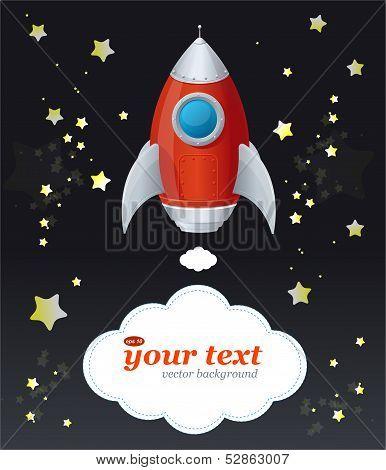 Comic cartoon rocket space ship and text