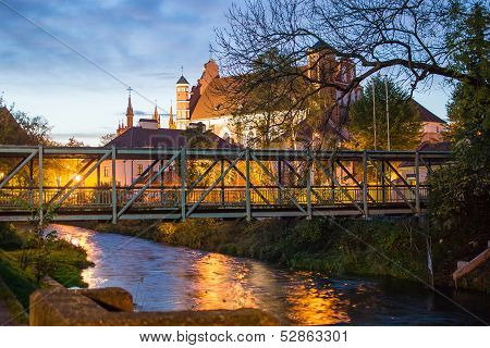 Fluxus Bridge and Bernardine Church in Vilnius, Lithuania