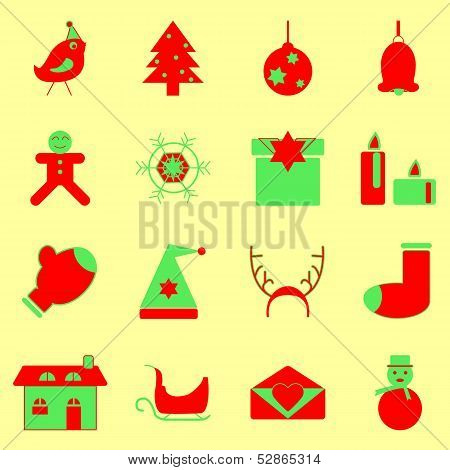 Christmas Red And Green Color Icons