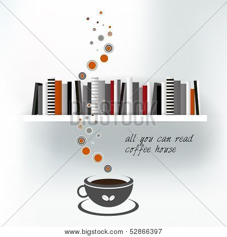 Web or print template of  Coffee house with book shelf. Vector background illustration.