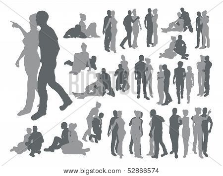 Highly Detailed Couple Silhouettes