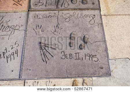 Handprints Of Whoopi Goldberg In Hollywood Boulevard In The Concrete Of Chinese Theatre's Forecourt