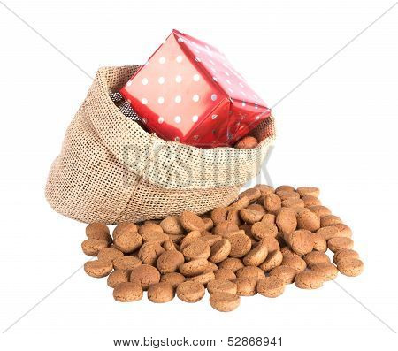 Jute Bag With Ginger Nuts And Presents, A Dutch Tradition At Sinterklaas Event In December