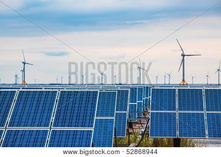 Solar And Wind Power In Mud Flat