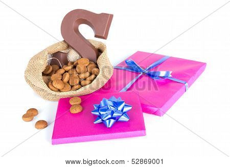 Jute Bag With Chocolate, Ginger Nuts And Presents; A Dutch Tradition At Sinterklaas Event In Decembe