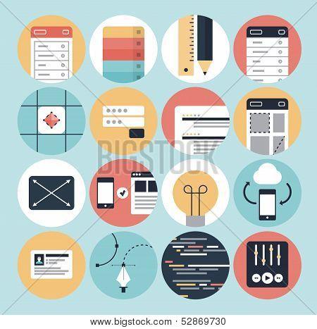 Desenvolvimento Web modernos e ícones de Design gráfico