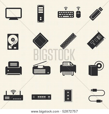 Computer infrastructure and  Computer Accessories Icons with texture background.