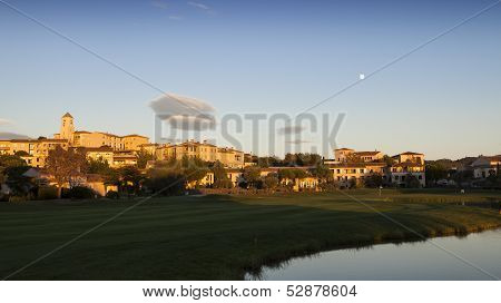 Village of Pont Royal at sunset, Provence, France