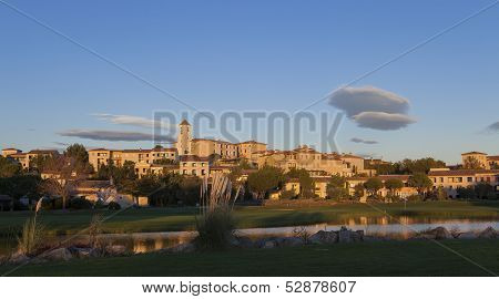 Village of Pont Royal at sunset, Provence, France